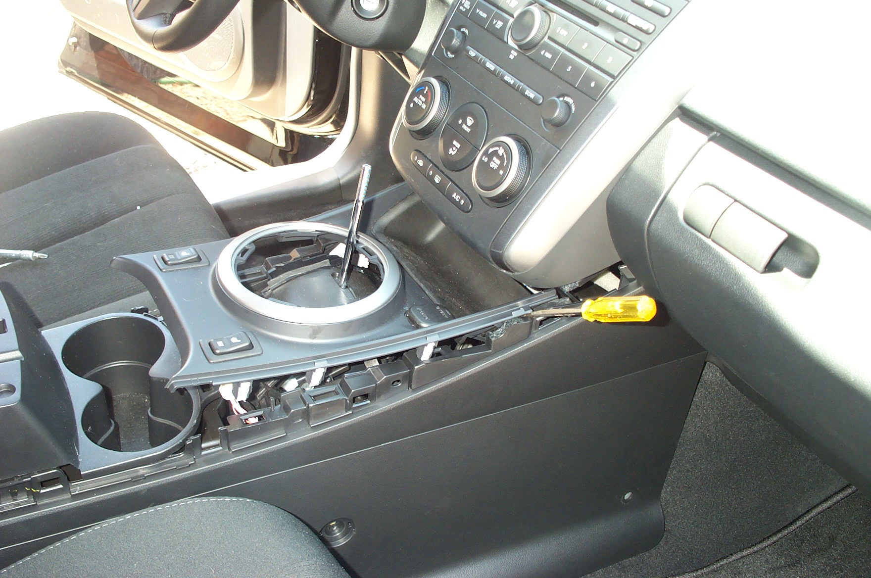 Console removal on backup camera radio